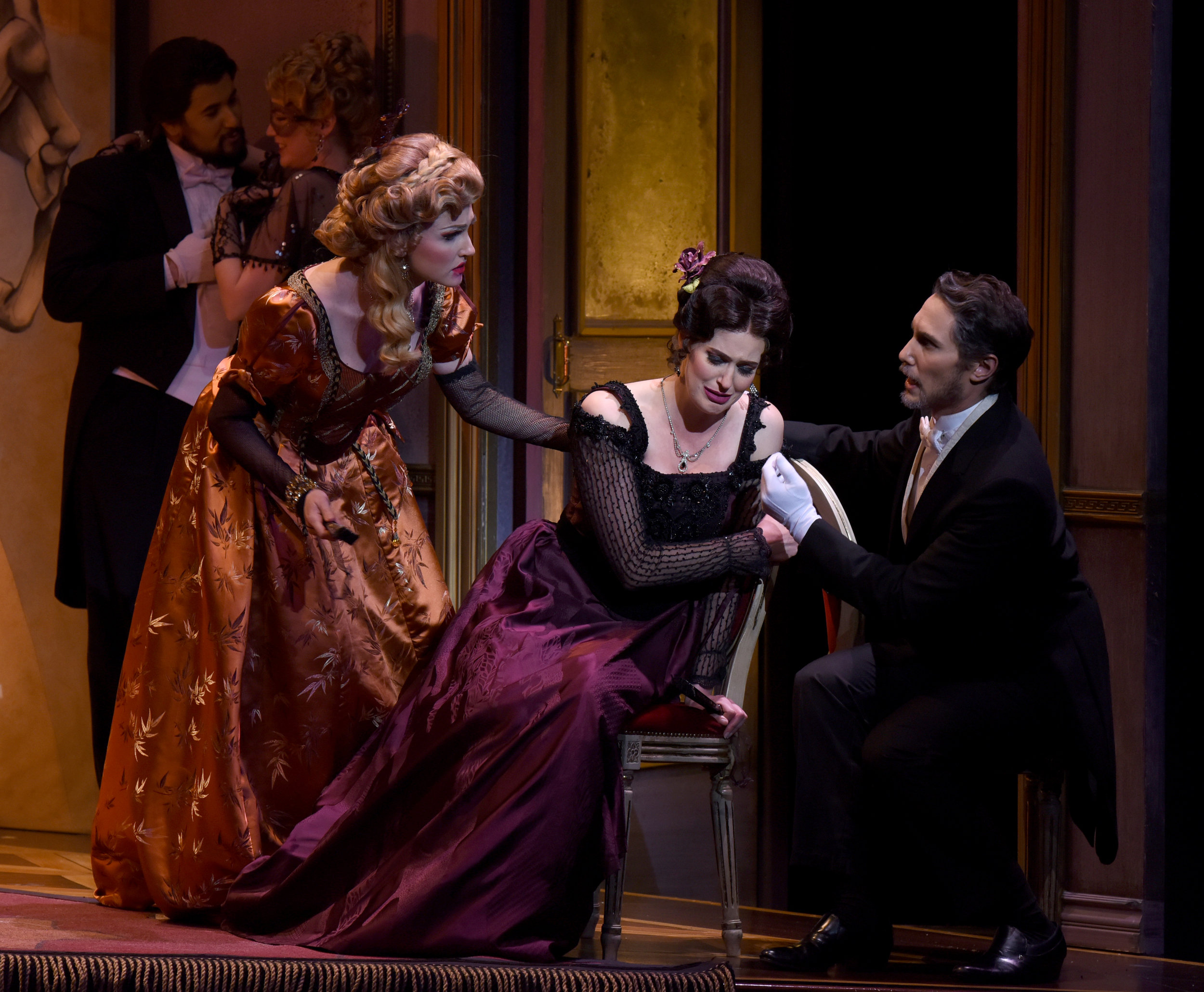 R to L: Christina Pezzarossi as Flora, Amanda Kingston as Violetta, Colin Ramsey as Dr. Grenville  Photo Credit: Pat Kirk