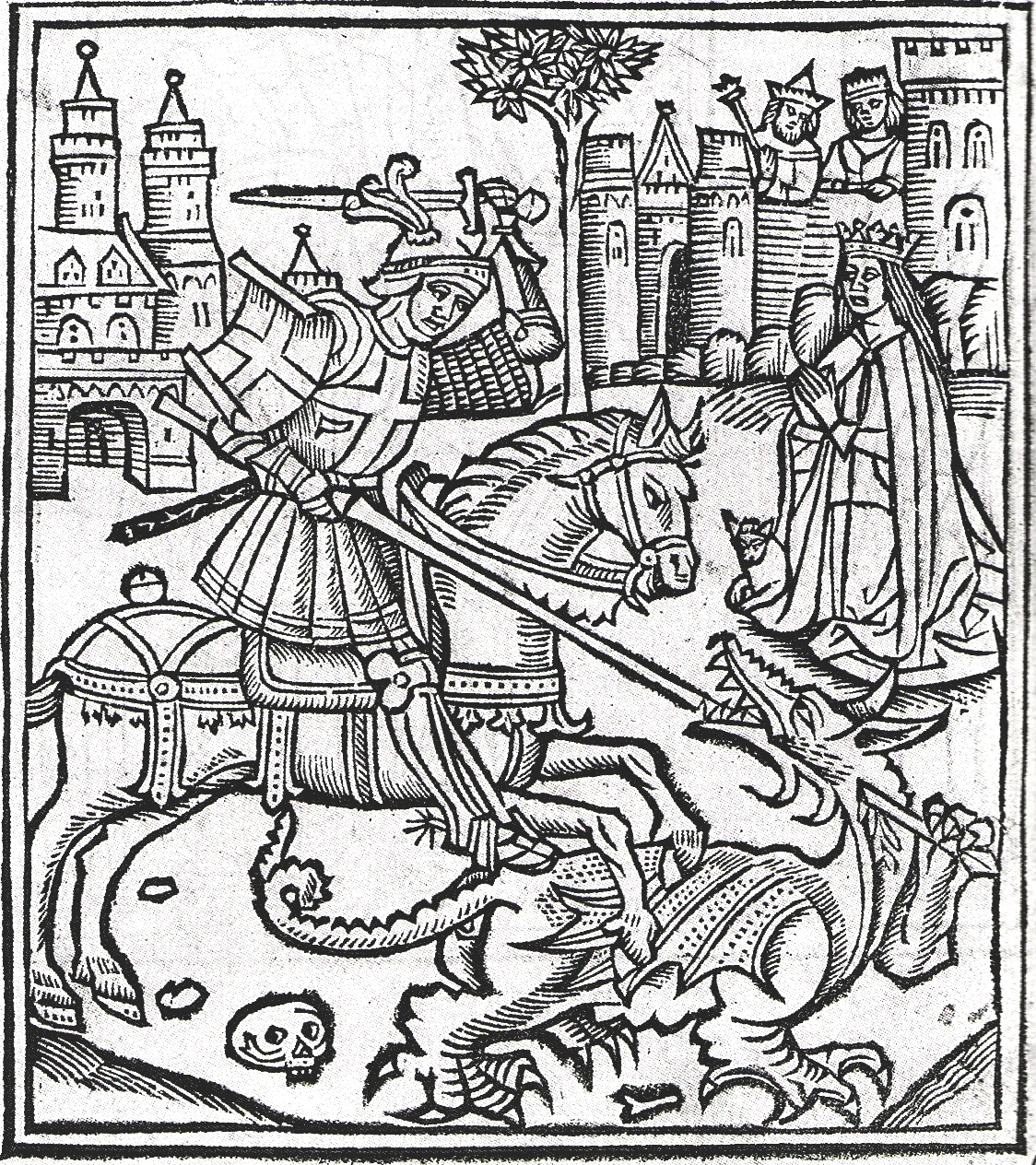 Woodcut frontispiece of Alexander Barclay,  Lyfe of Seynt George  (Westminster, 1515).