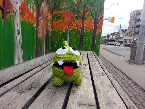 Once Om Nom #1 was done, I took some action photos of him. Here he is at the bus stop...