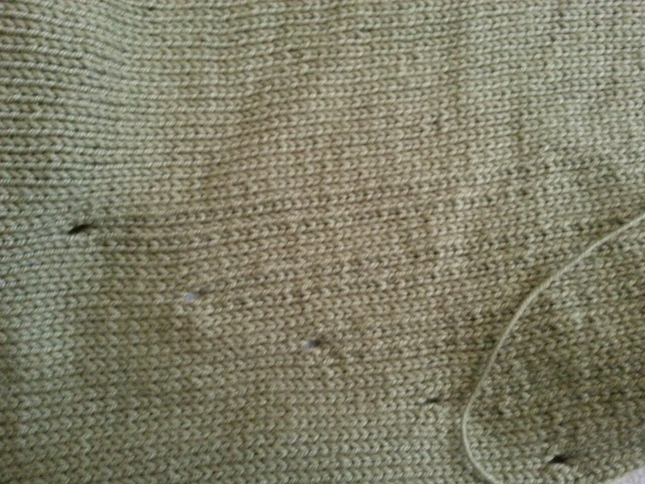 The eyelets showing where the dropped stitches will be on the back