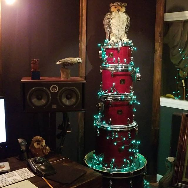 Season greetings from The Brown Owl. 7pm tomorrow. Hot chicken.  Jingle juice.  Thanks @gretschdrums for the great tree
