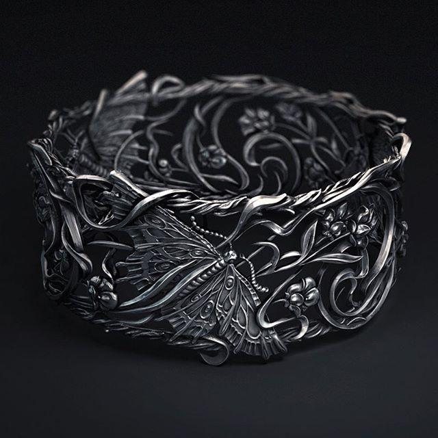 MORE METAL!🤘🤘🤘 #artnouveau #butterfly #metalwork #jewelry #bracelet #render #zbrush #cinema4d #floral #elfart #design #ornamental #fantasyart #fantasy #cg #arnoldrener #octane #c4d #thegraphicspr0ject #artstation #adobe #customjewelry #butterflyjewelry #renderzone #dailyrender #xuxoe #ornament #silver #behance #sashavinogradove