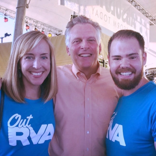 Katherine O'Donnell of Richmond Region Tourism, Governor Terry McAuliffe, and Kevin Clay at Virginia Pride.