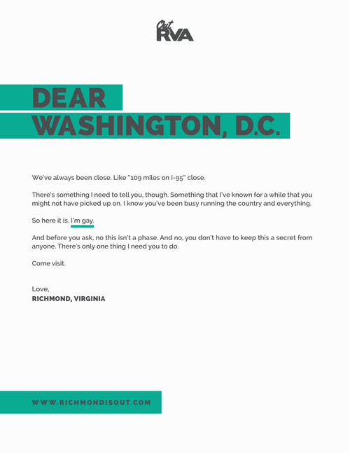 Richmond's coming out letter to Washington, DC