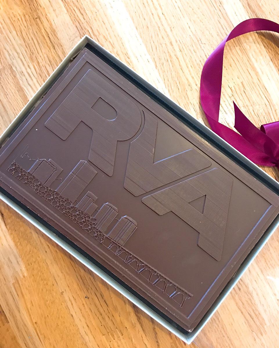 Kelly's custom RVA one pound chocolate bar.