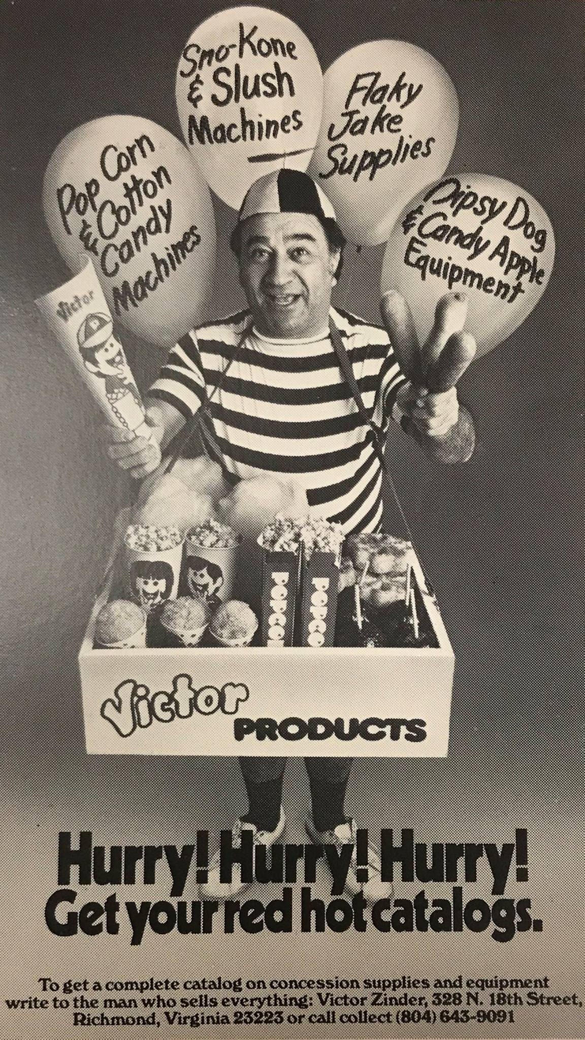 An ad featuring Victor Zinder, founder of Victor Products, Inc.