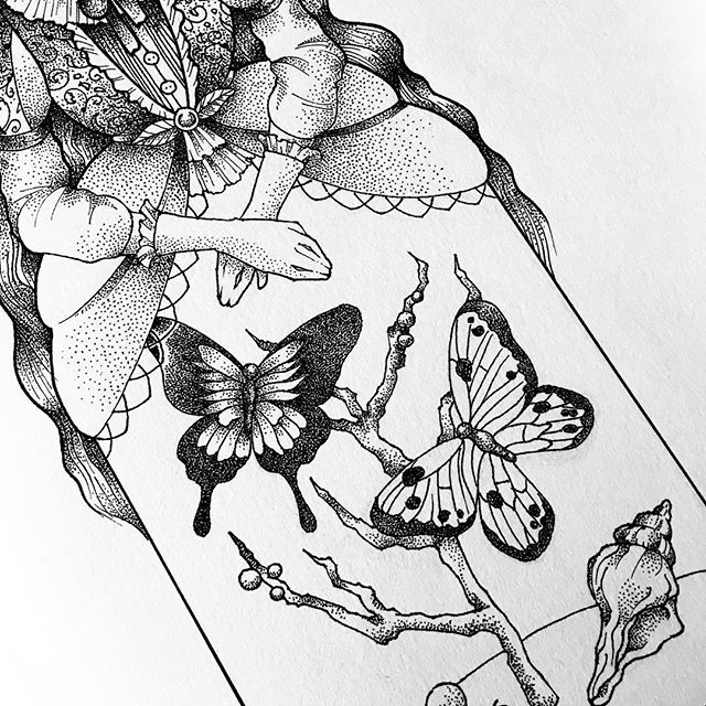 Bell jar skirt work-in-progress. 🦋 . . . #art #illustration #illo #process #victorian #doitfortheprocess #womenwhodraw  #illustratie #ladyartist #outlines #bnw #drawinginprogress #illustration_best #illustrationartists #girlswhodraw #draweveryday #sketchbook #wip #sgart #sgartists #sketchbook #sketching #artist_sharing #micron #rotring #dotwork #dotworkers