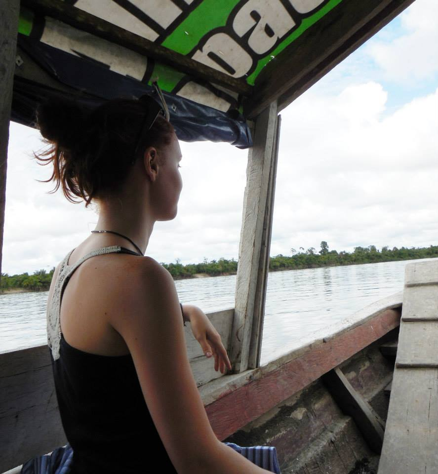 Riding up the Nanay River in the Amazon jungle, on my way to an ayahuasca healing center