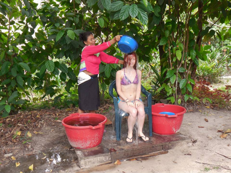Daily flower bath with maestra (shaman) Sulmira.Flower baths help to cleanse heavy energies that may come from ceremony.