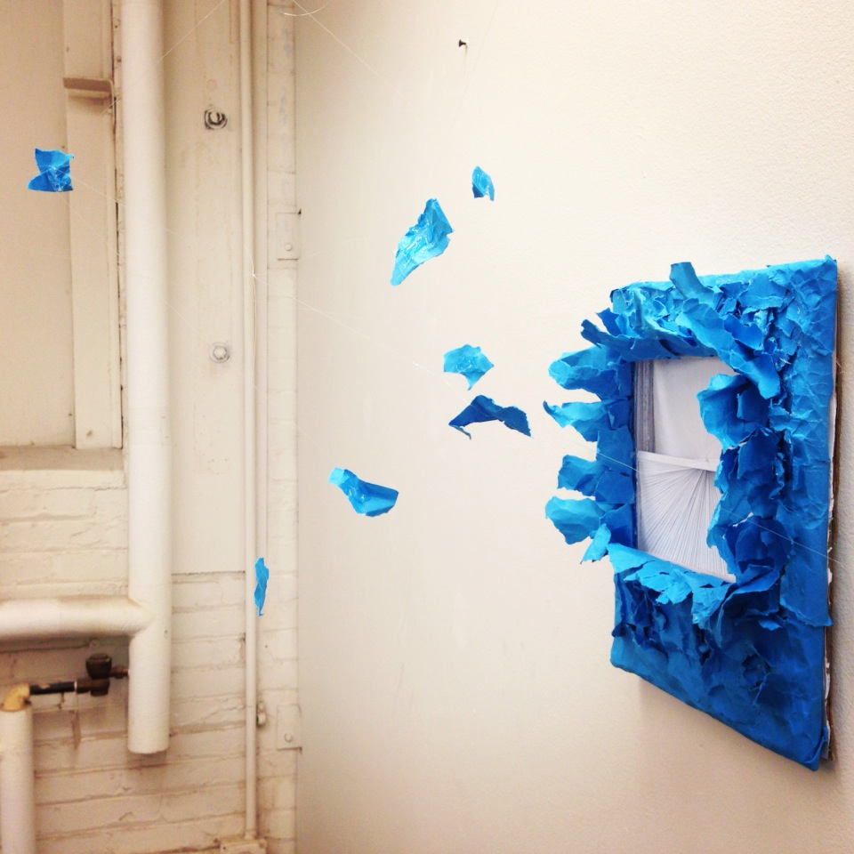 Paper Explosion (Colored paper, fishing line), 2014