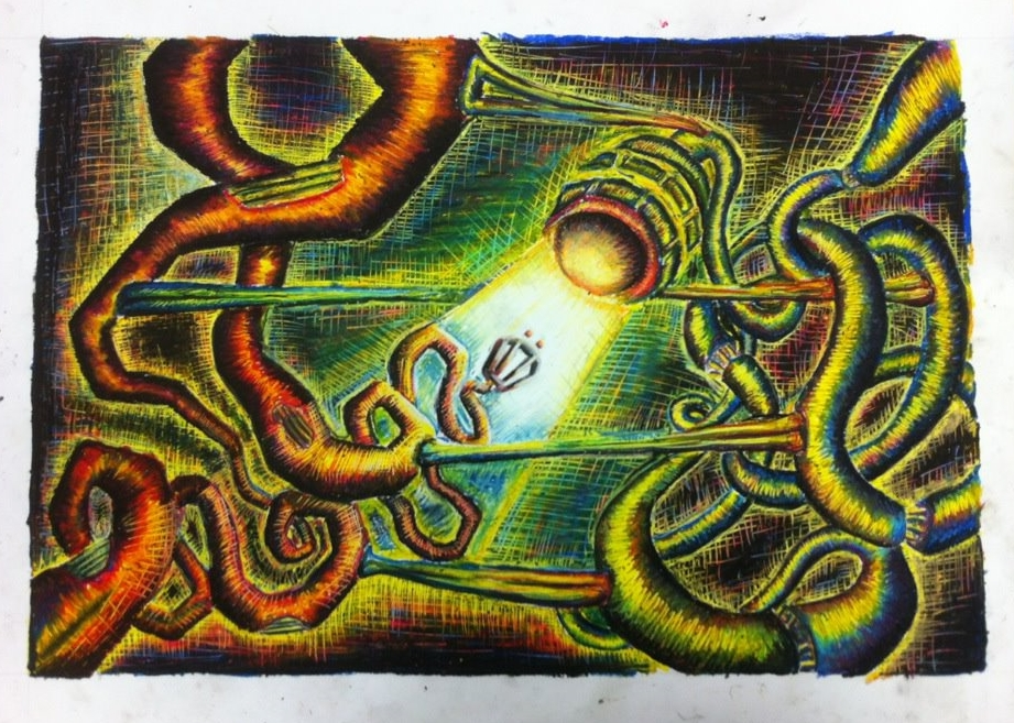 Searching (Oil Pastel/colored pencil), 2009