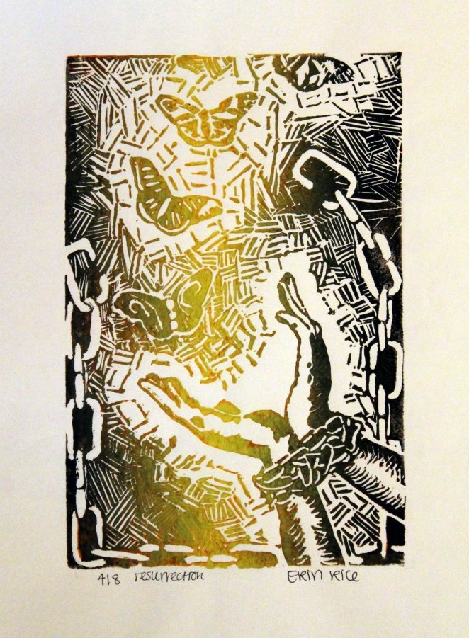 Release (Linoleum print), 2008