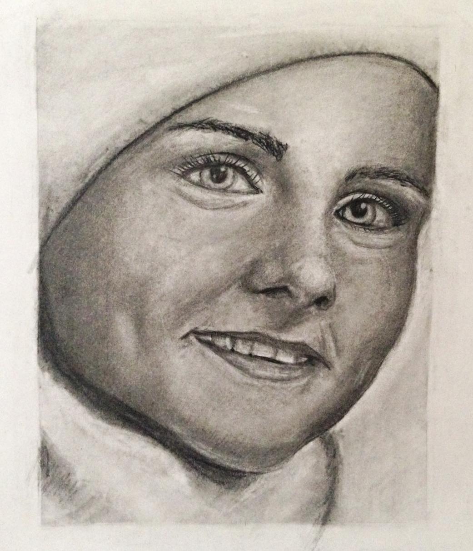 Mom at 19 (Charcoal pencil), 2015