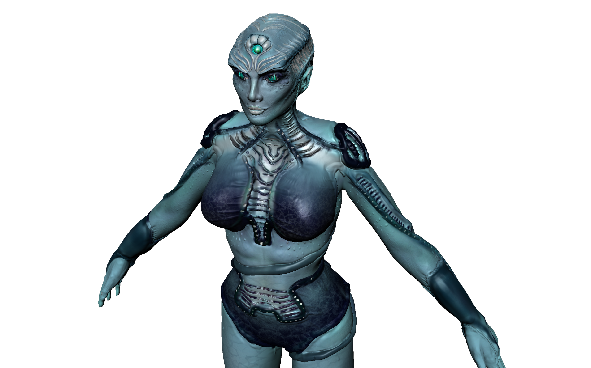 My character design using Maya and Mudbox allowed me to explored a combination of anatomical parts, creating the model's figure from scratch, as well as explore organic shapes and tools on top of the surface.