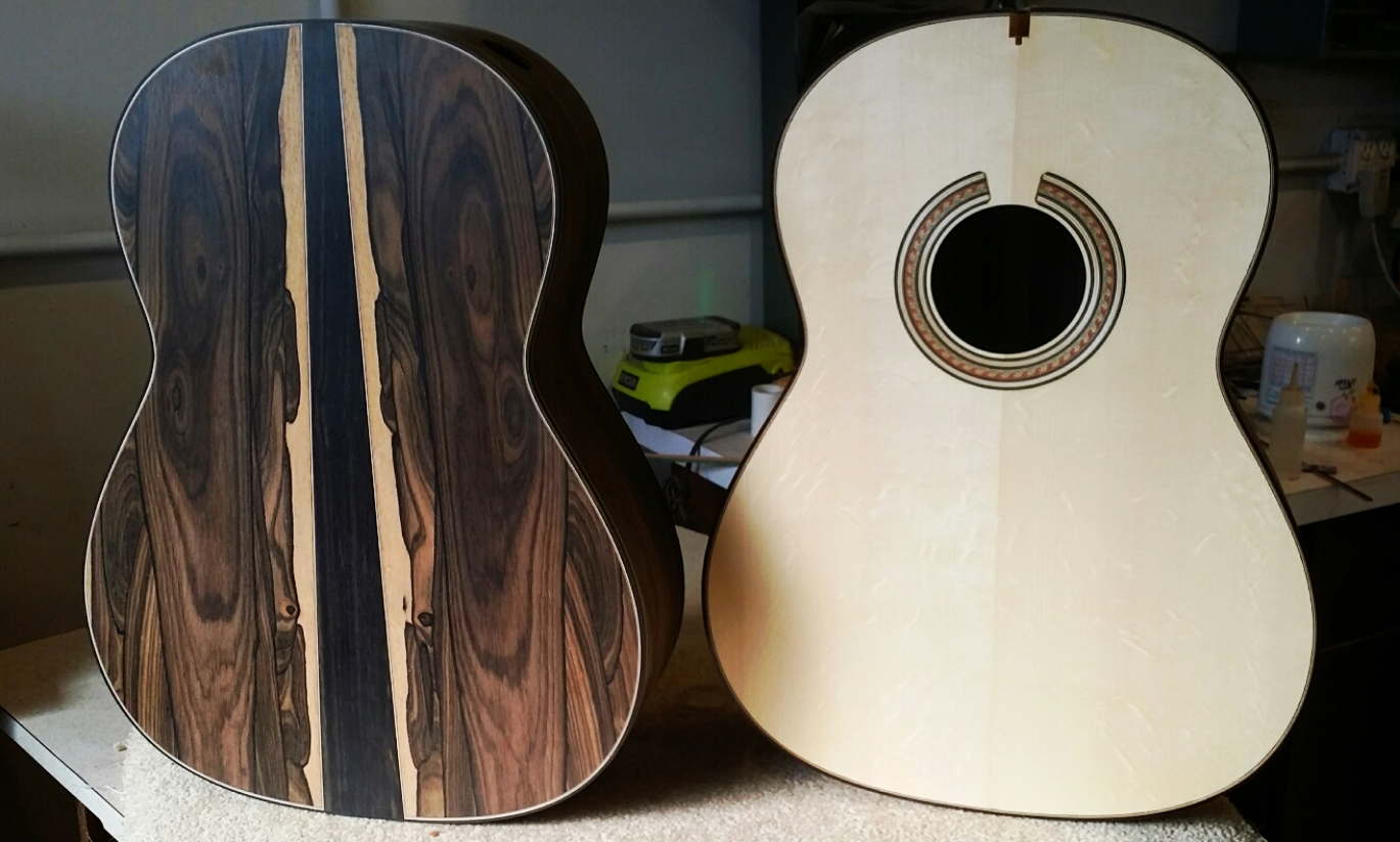 Two bodies ready for finishing. Ziricote and cedar for one and figured German spruce and Indian Rosewood for the other