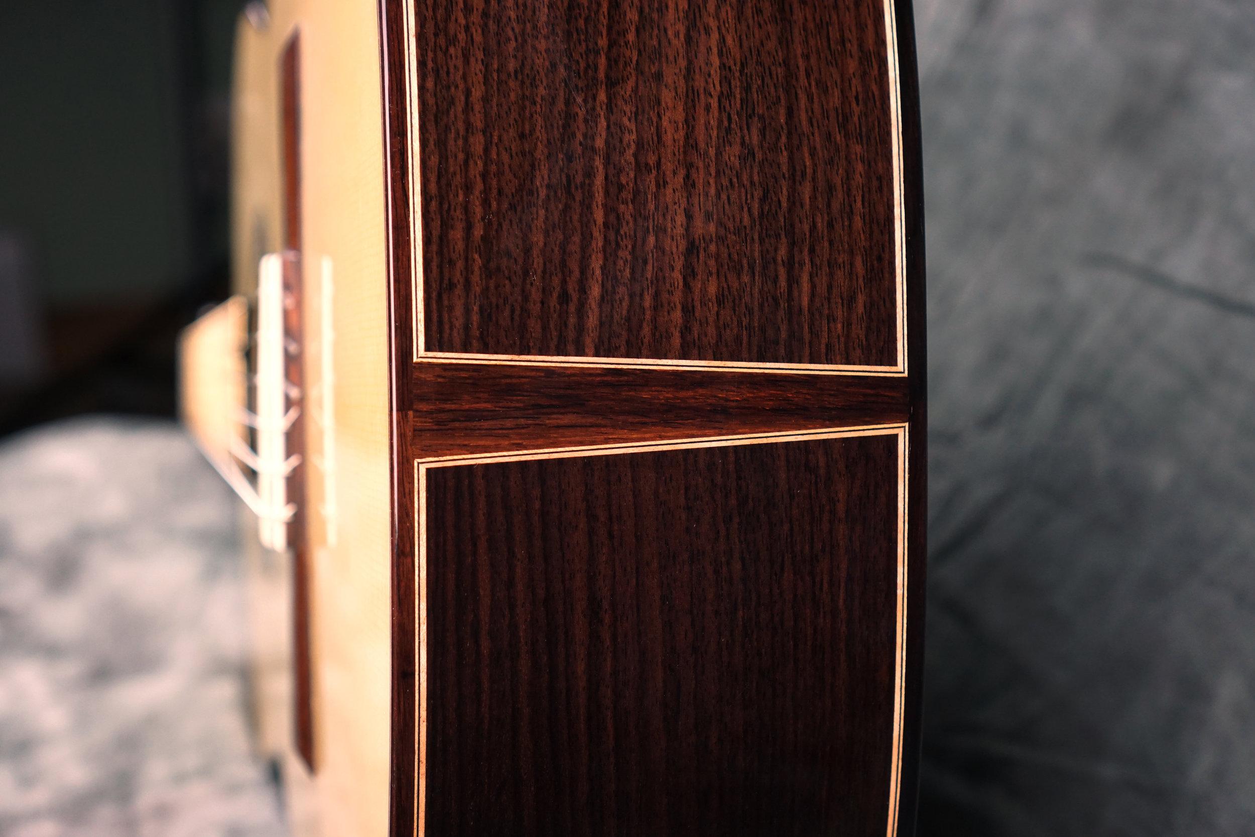classical guitar mitered purfling detail
