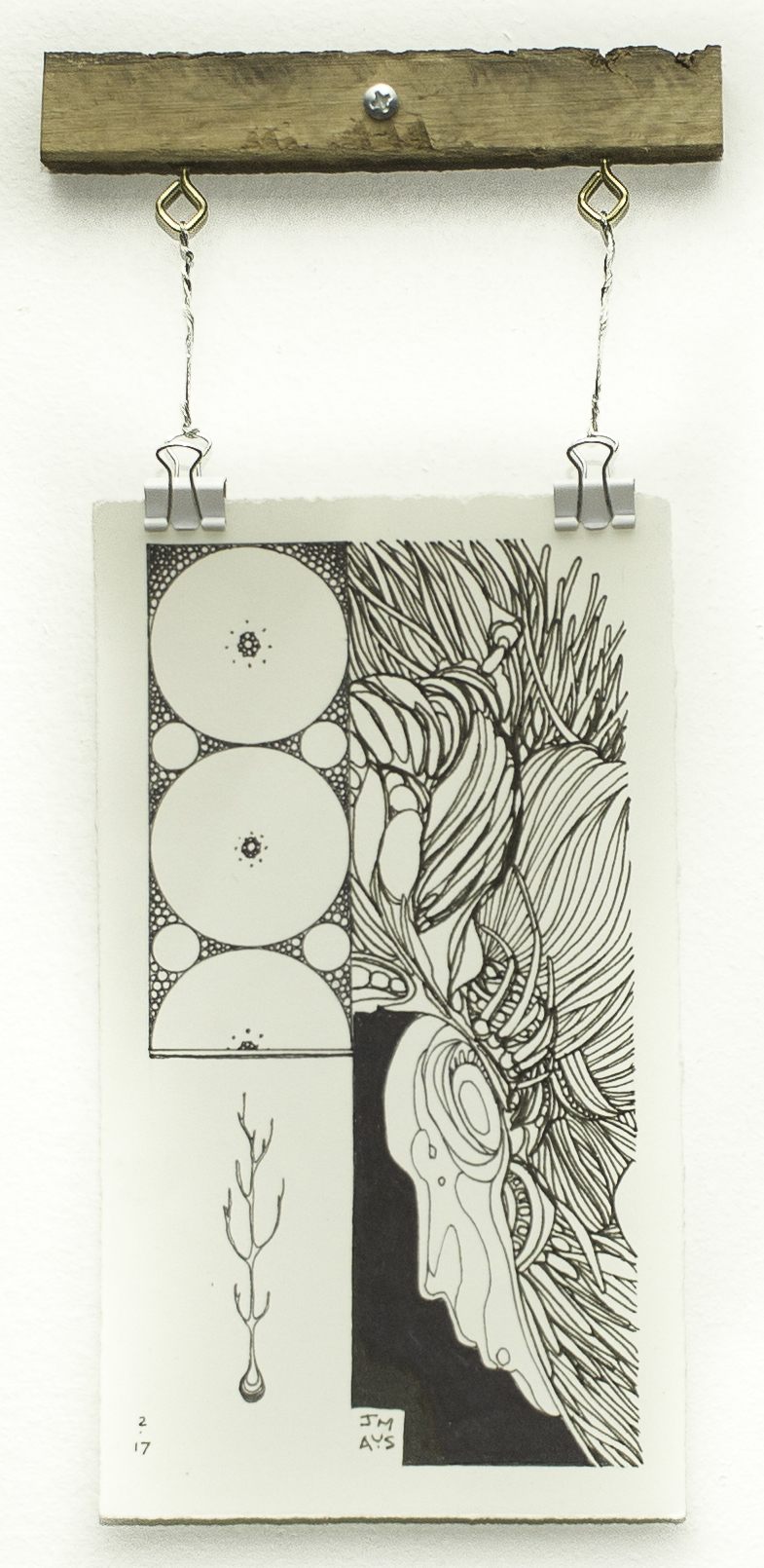 """Seed"" Ink on paper 4.25""x 7.5"" Joshua Mays"
