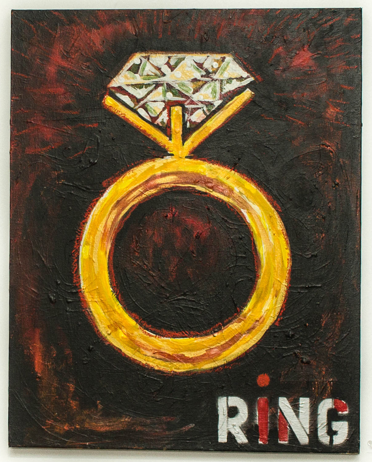"""A Ring Is Not A Relationship"" Acrylic and oil stick on canvas 24""x 30"" Eesuu Orundide"