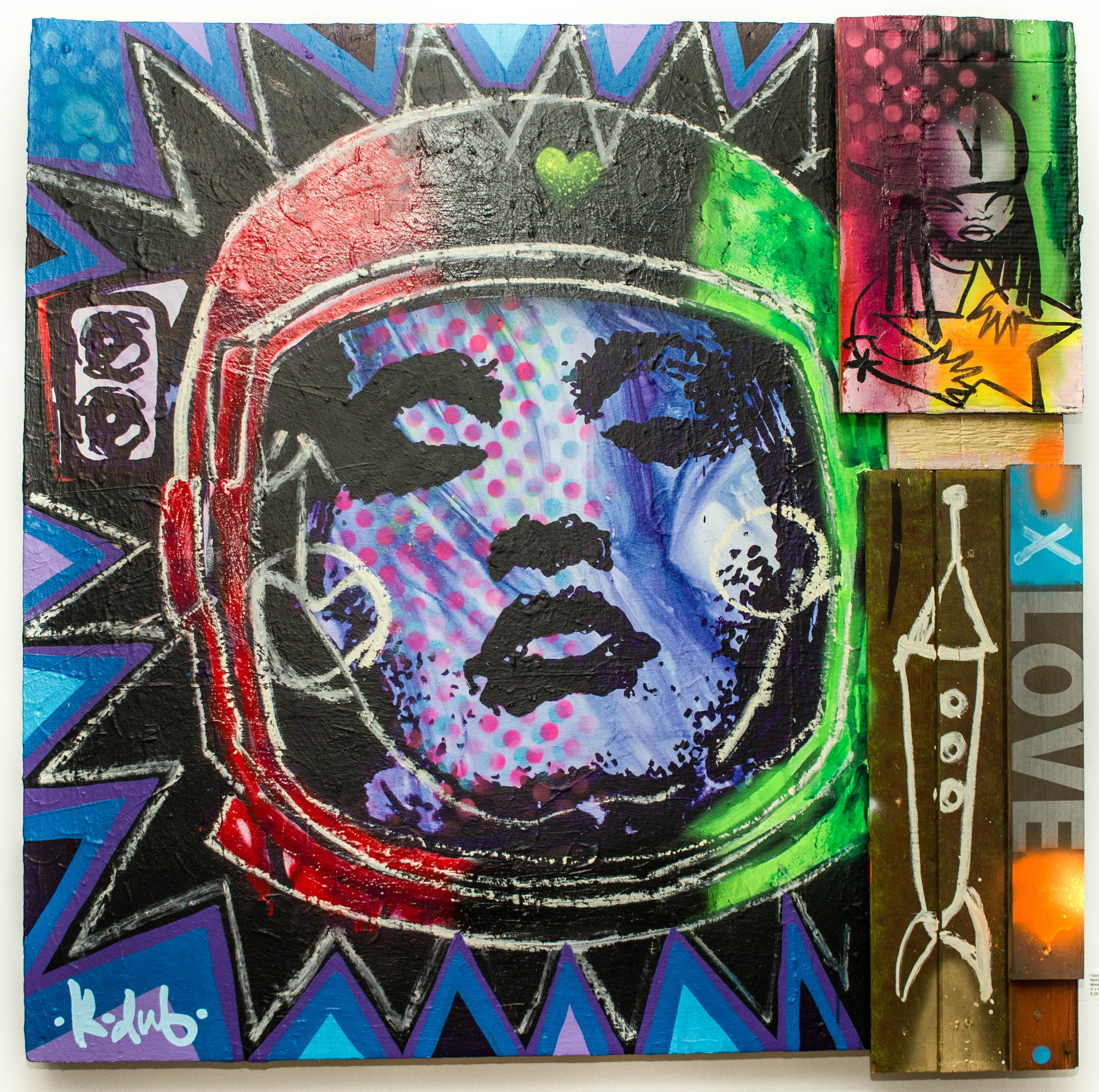 """Gave Me A Star"" Rocket Love series #10 Mixed mediums on wood panel 4' x 4'  K DUB"