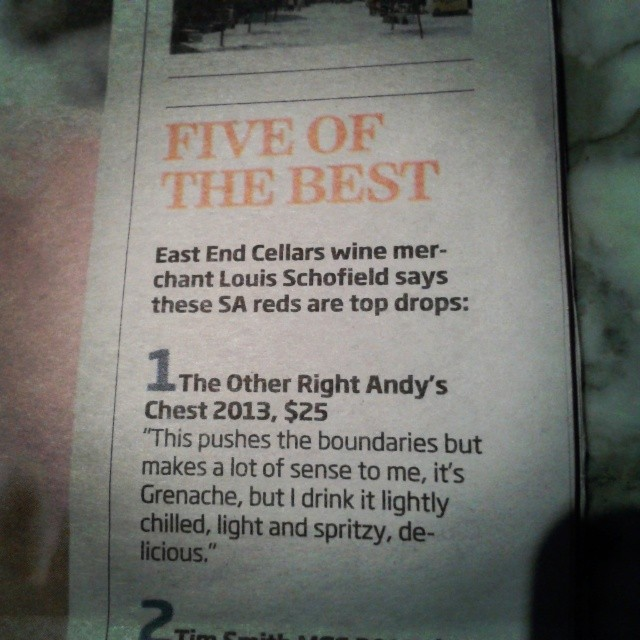 The Other Right's Andy's Chest in East End Cellars top 5 Grenaches