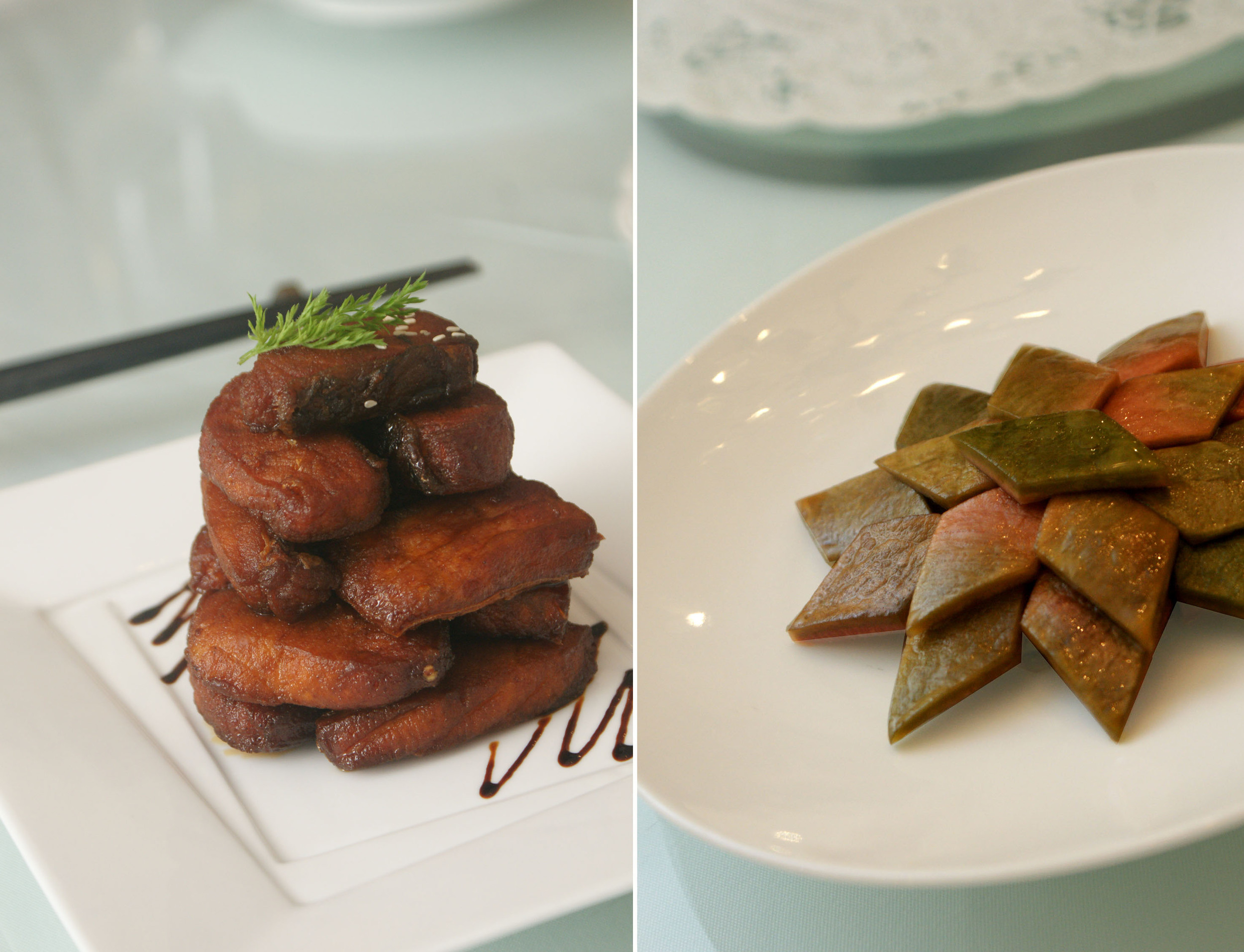 "Lao Shang hai xun y - Shanghai ""smoked"" fish and Hua Jiao Luo Bo Pi- a crispy radish, marinated in a Szechuan-pepper sauce."