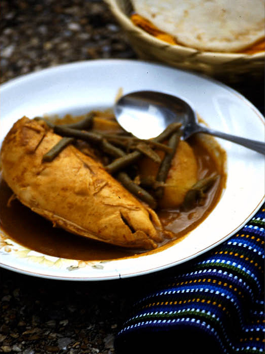 "Pulique, a prehispanic chicken dish with ""recado"" (a Guatemalan word for a complex sauce)"