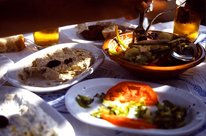 Simple Greek meze: Bradada on the left side.