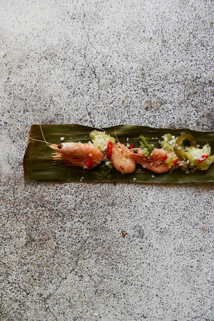 Tequila Shrimps:  Mini shrimps, tequila, lime pulp, jalapeño, chili, salt