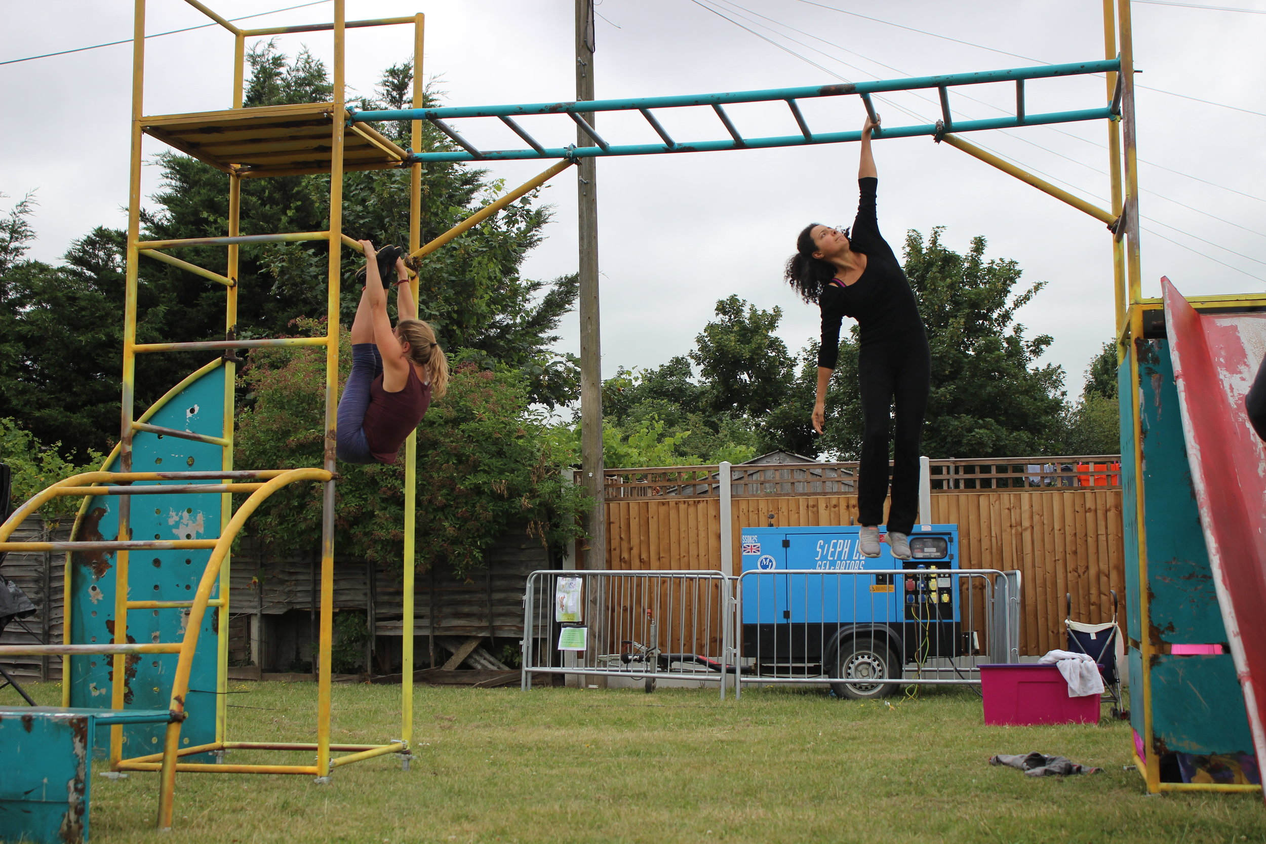 The circus and acrobatic show from  Light the Fuse Theatre and Scribbled Thought, Playground Victories ,a huge playground!