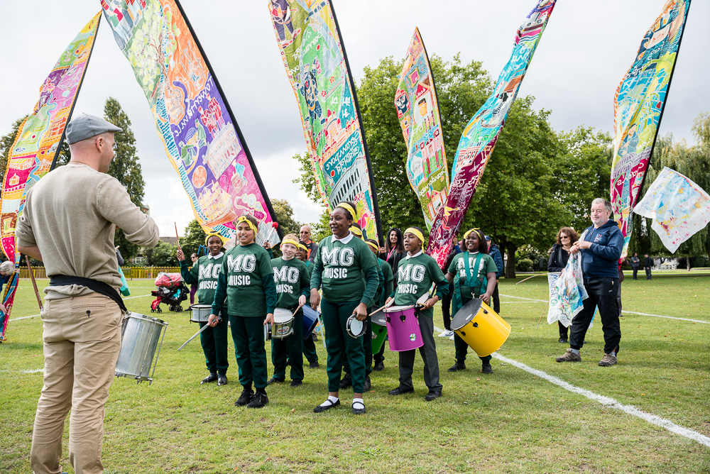 The Marsh Green School Drummers lead the way through Greatfields park on the B&D walk. Image: Jimmy Lee
