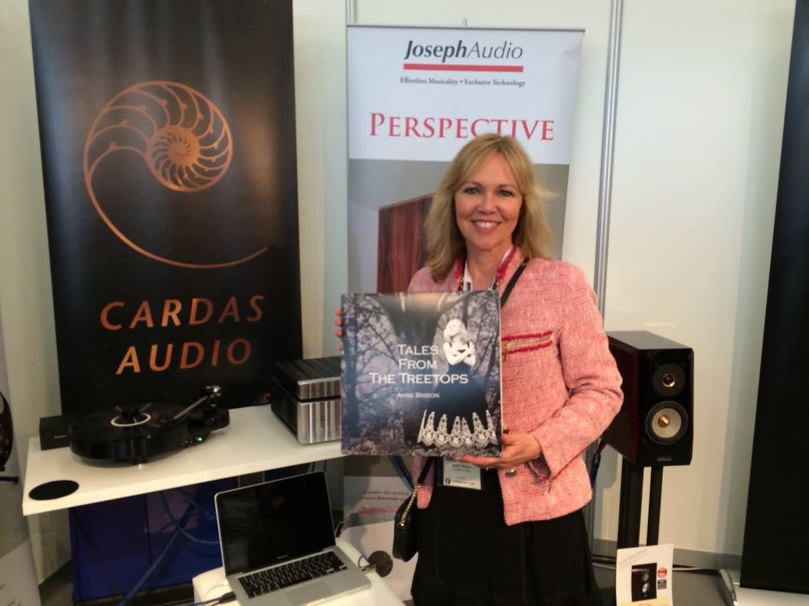 Anne Bisson came by the booth to listen to a test pressing of her new album. It sounds great on the Pulsars and Jeff Rowland gear!