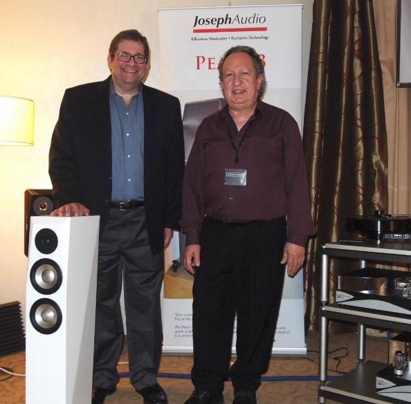 The Zesto Audio/Joseph Audio System with  the Profiles won Best Sound (for the money) honors from The Absolute Sound! Pictured: Jeff Joseph & George Counas of Zesto Audio in Munich