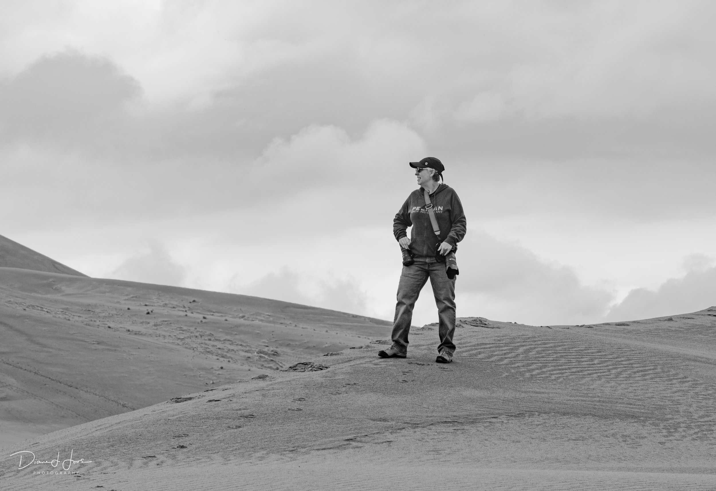 Your wedding photographer: Lisa Marie Pane. Standing atop one of the dunes at Bruneau Dunes State Park in Idaho.