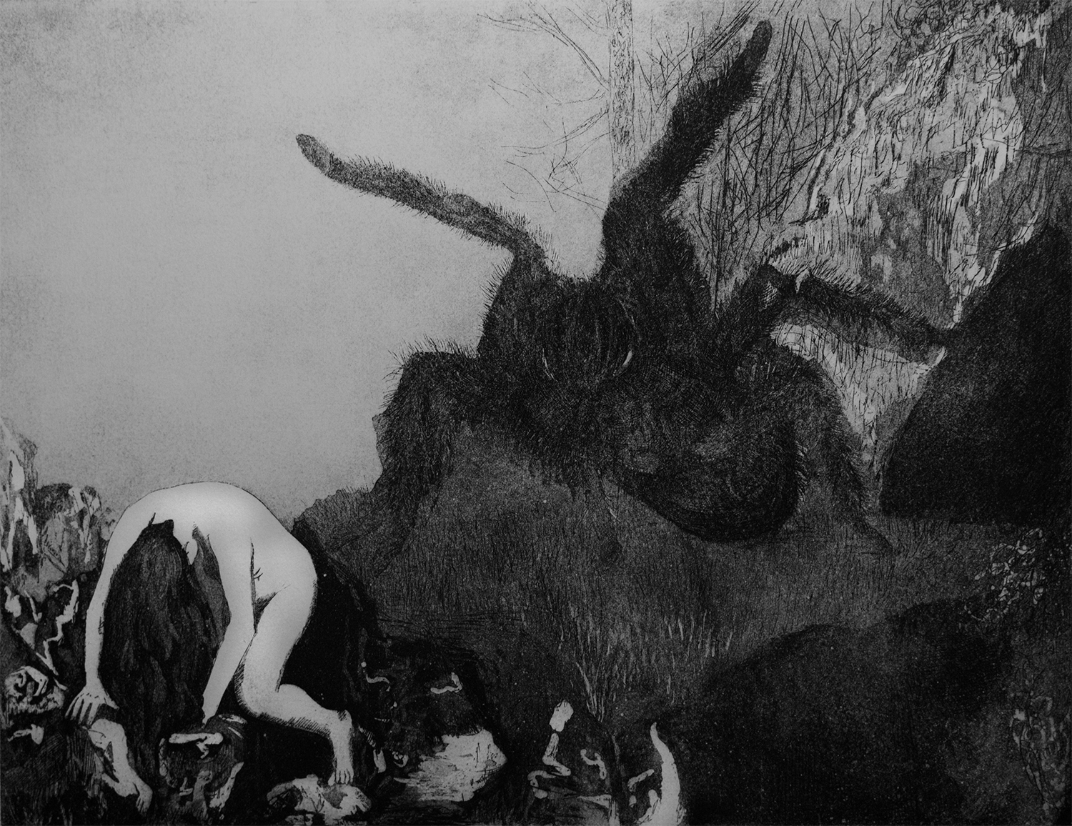 Incubus,  2015, etching and aqua tint on Rives BFK Heavyweight paper, 9x12''