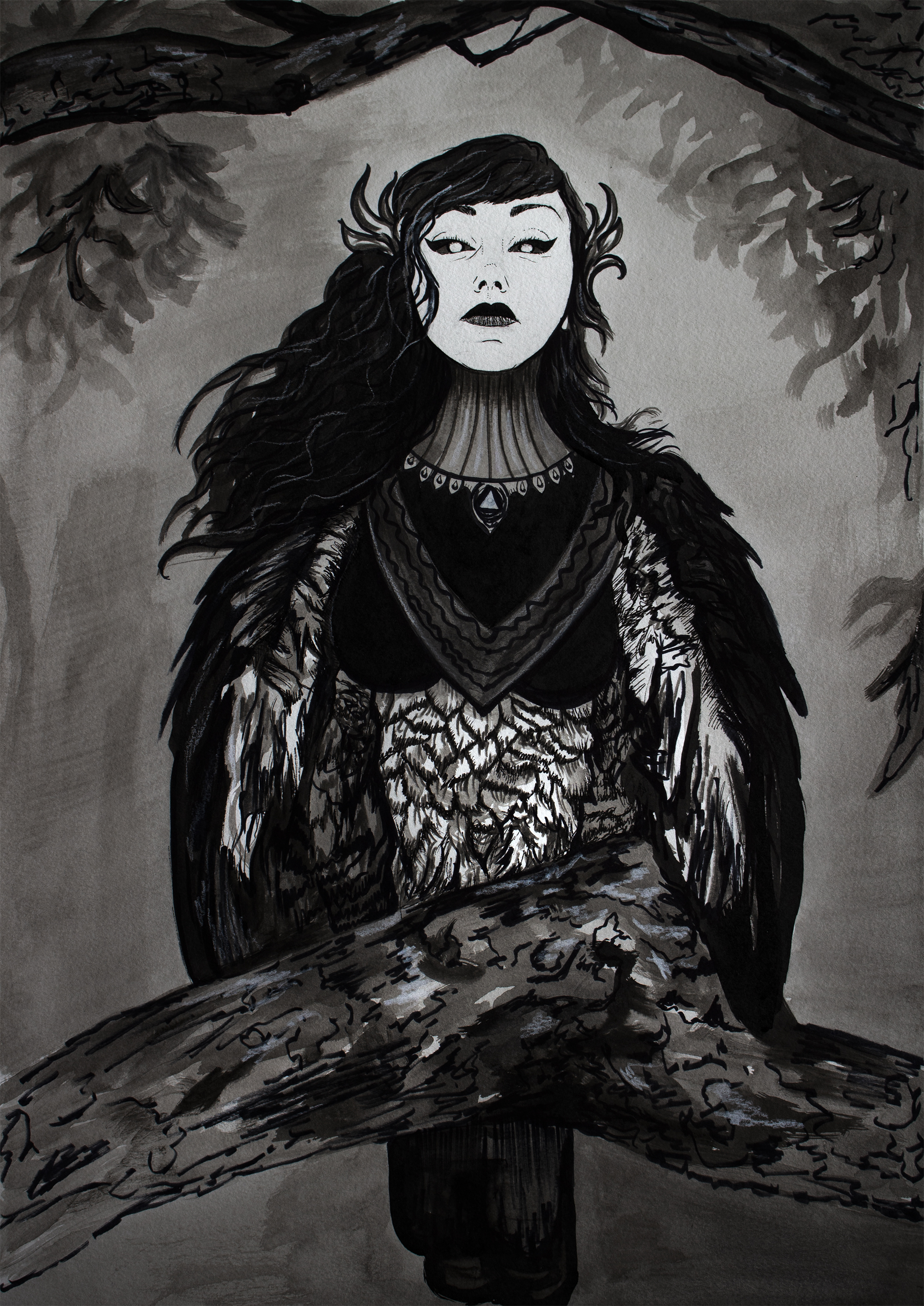 Harpy, 2019, India Ink on watercolor paper, 18x24""