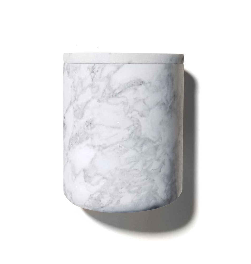 The Luxuriate White Marble Candle Holder