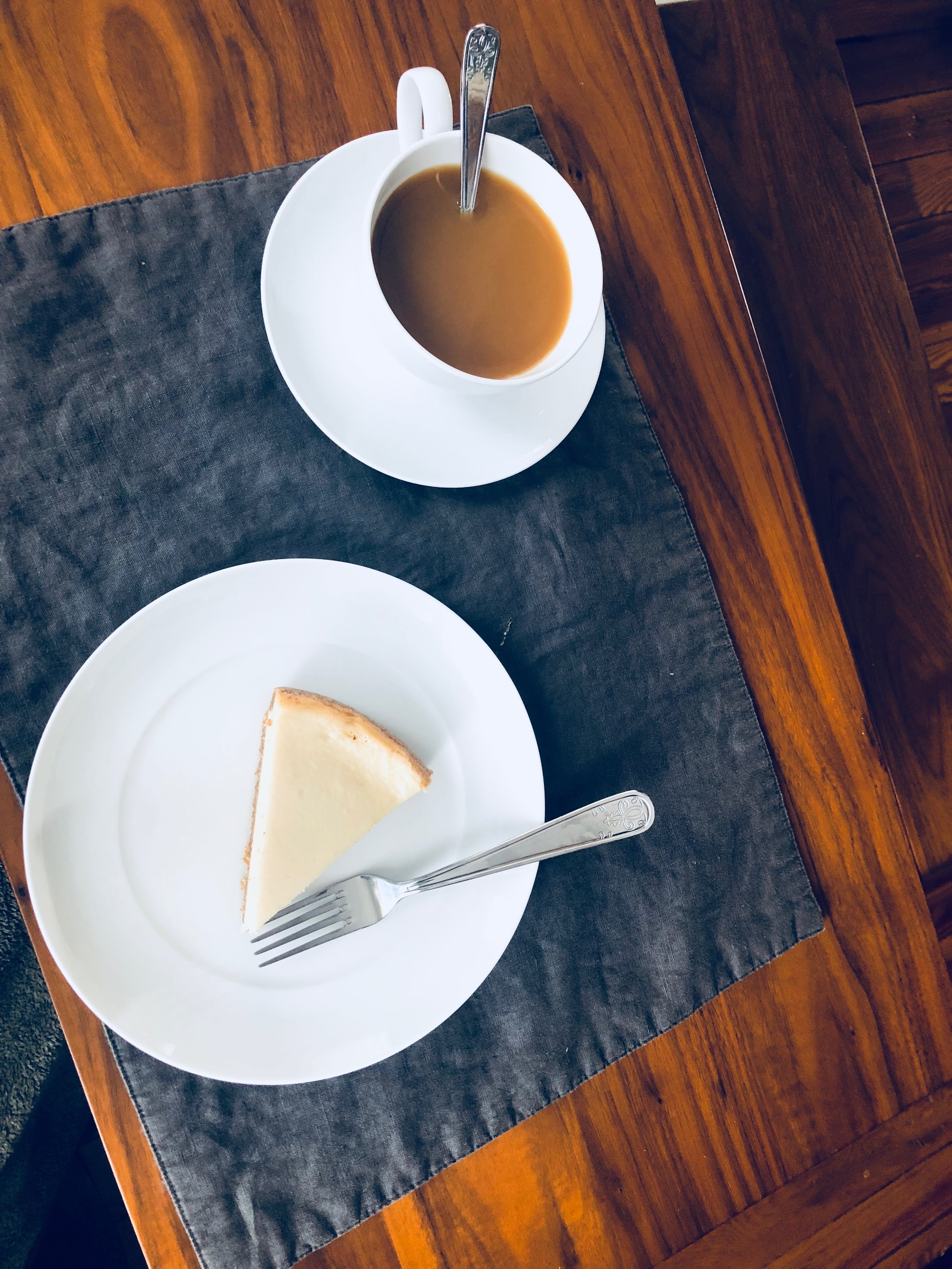 Breakfast - Today it was cheesecake and coffee. Coffee which by the way Mike has figured out how to perfect! He now knows my needs for sugar and cream. An important part of every relationship.