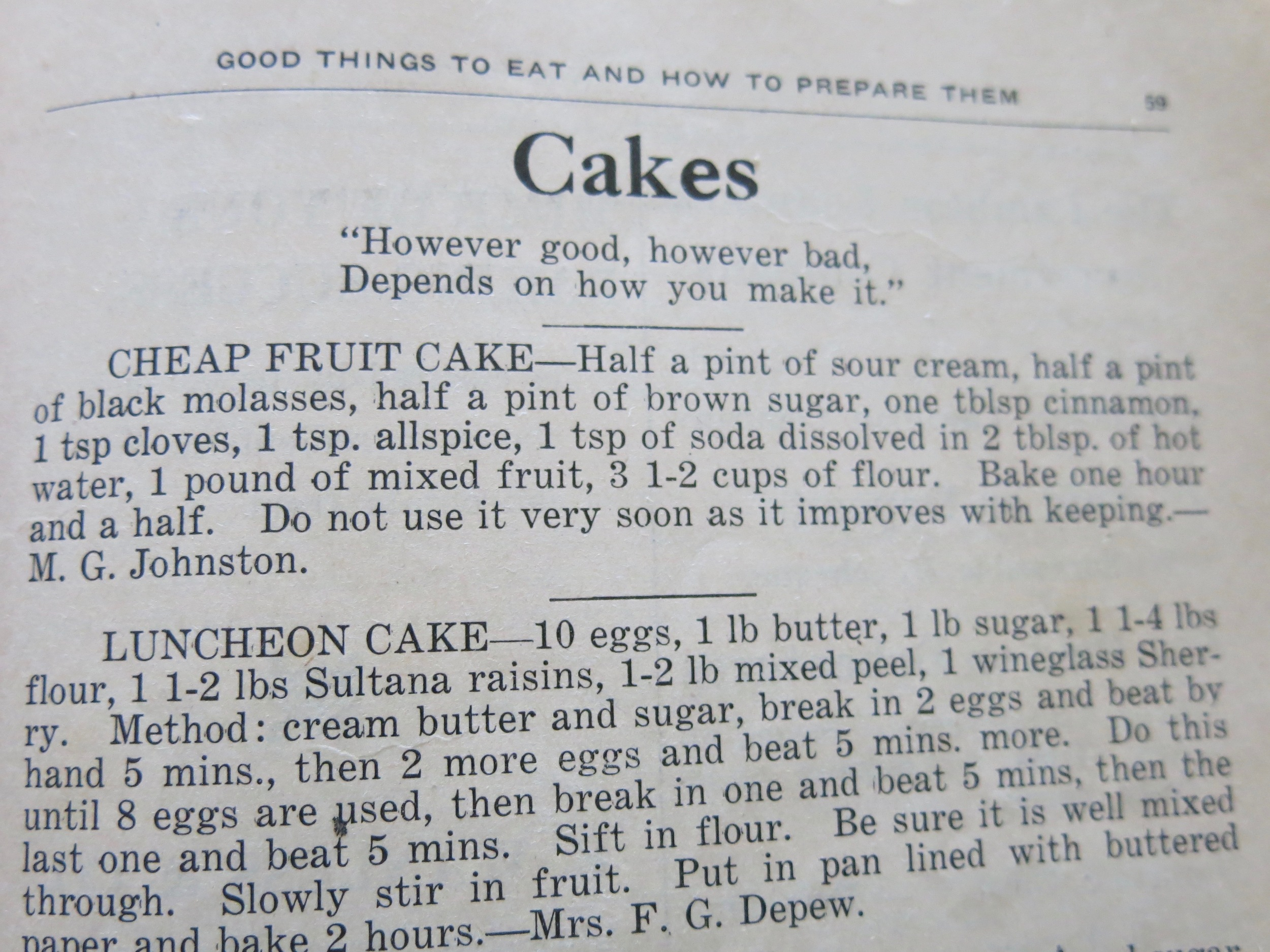 Luncheon Cake was submitted by Mrs. Depew. That's an unfortunate name.