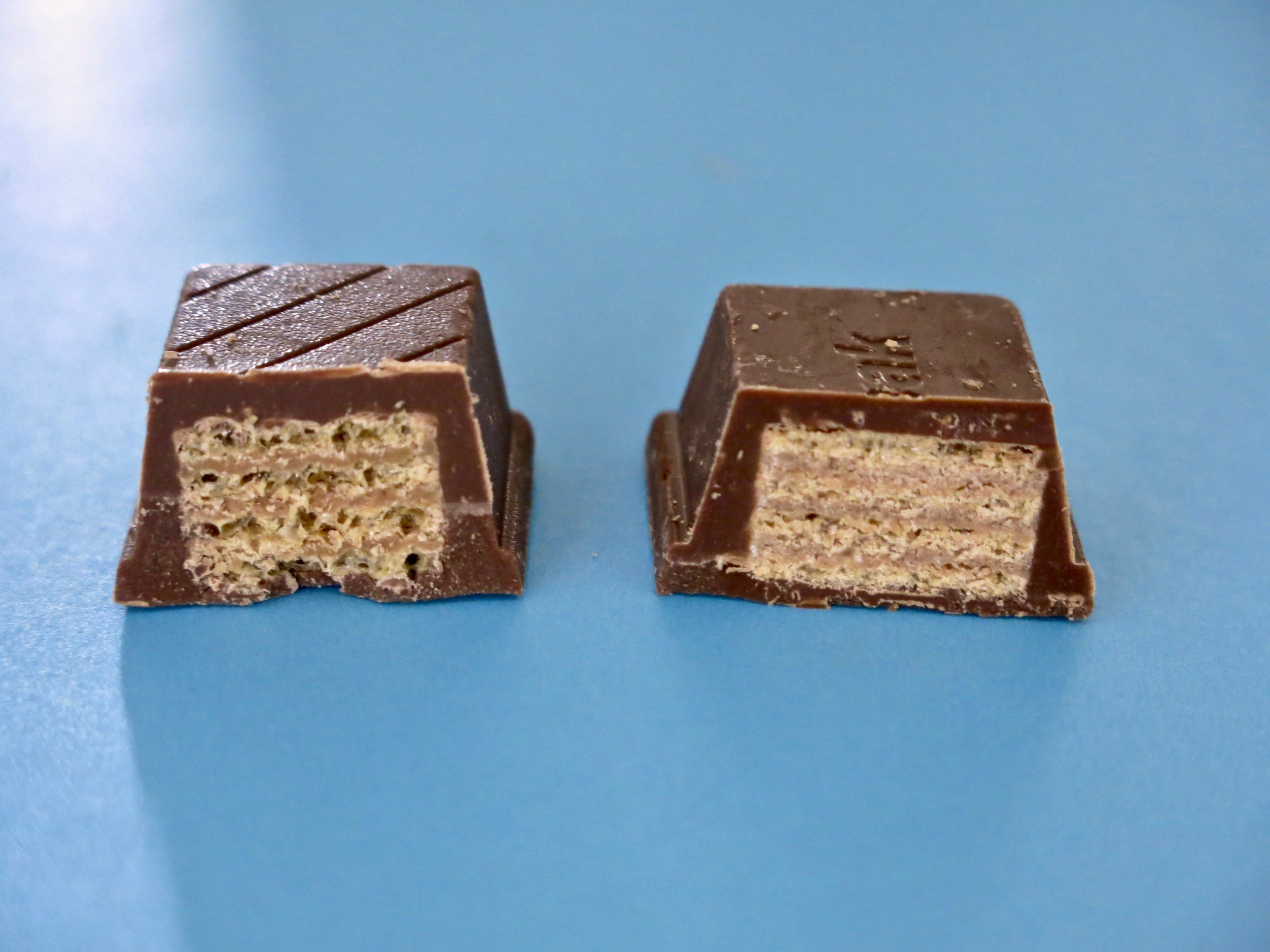 4fun on the left, Kit Kat Chunky on the right.