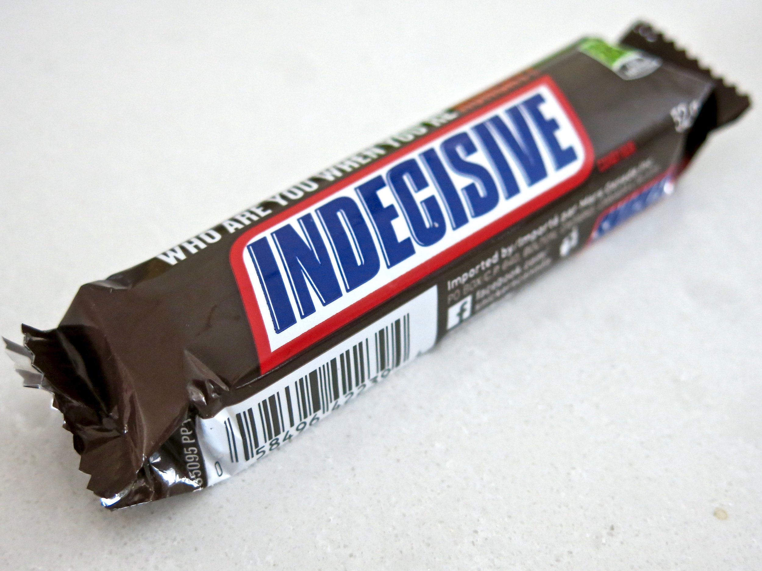 """This Snickers bar read """"Indecisive."""" I couldn't decide what that meant."""