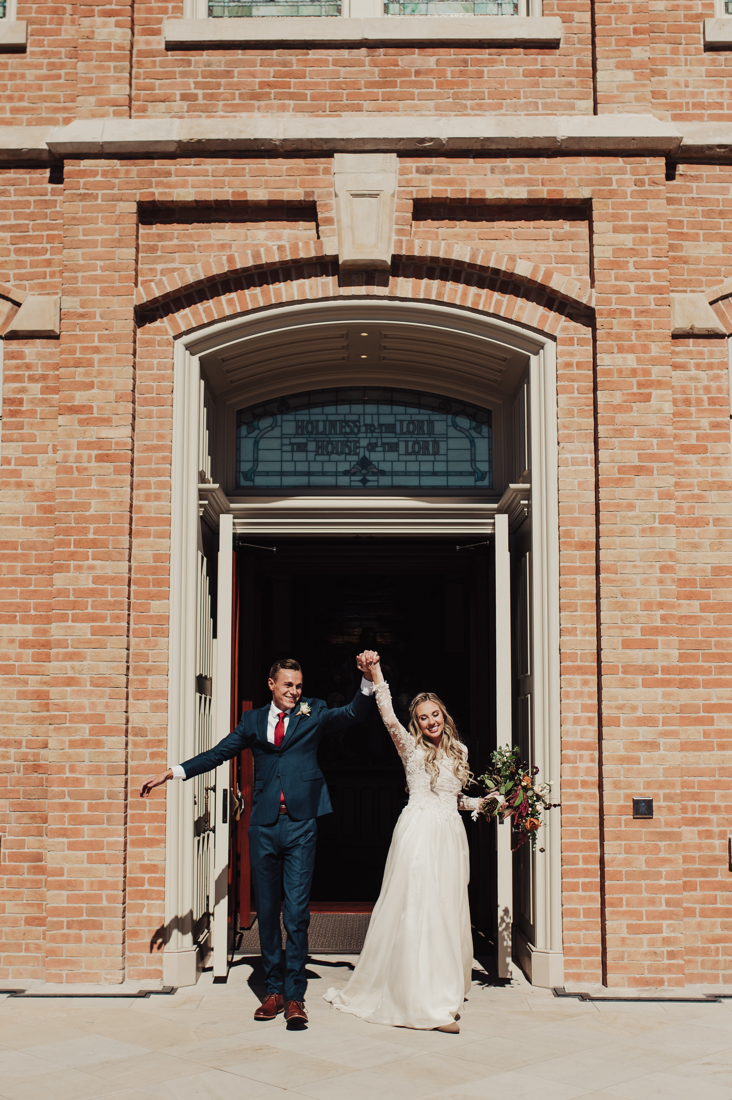 Provo City Center Temple Wedding Bride and Groom Exit