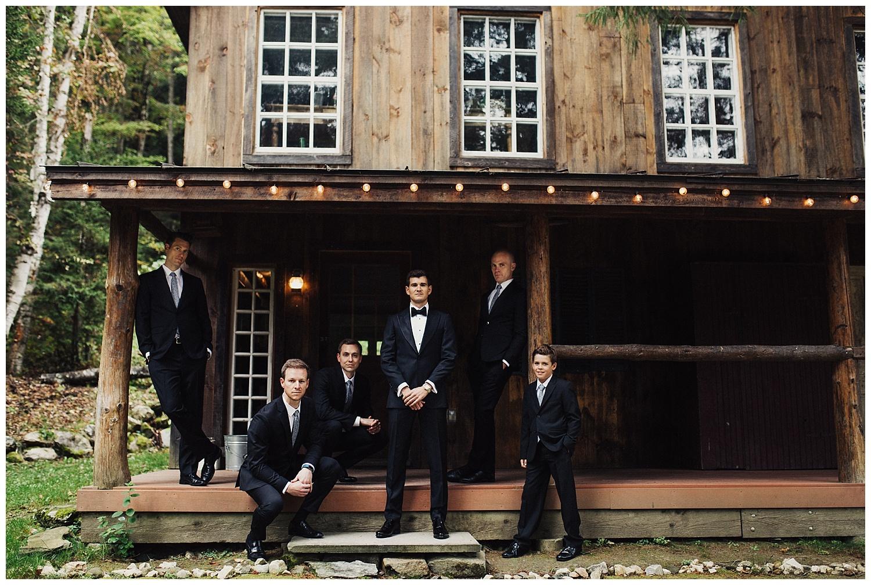 groomsmen at riverside farm wedding