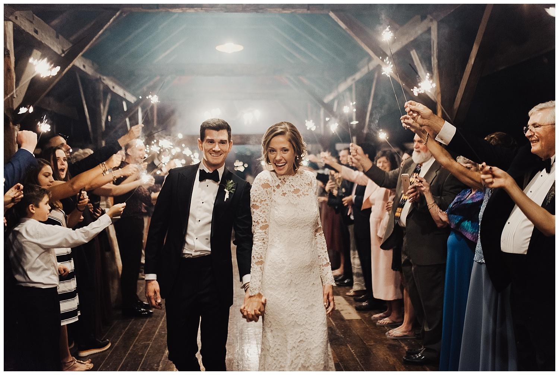 sparkler exit at riverside farm wedding