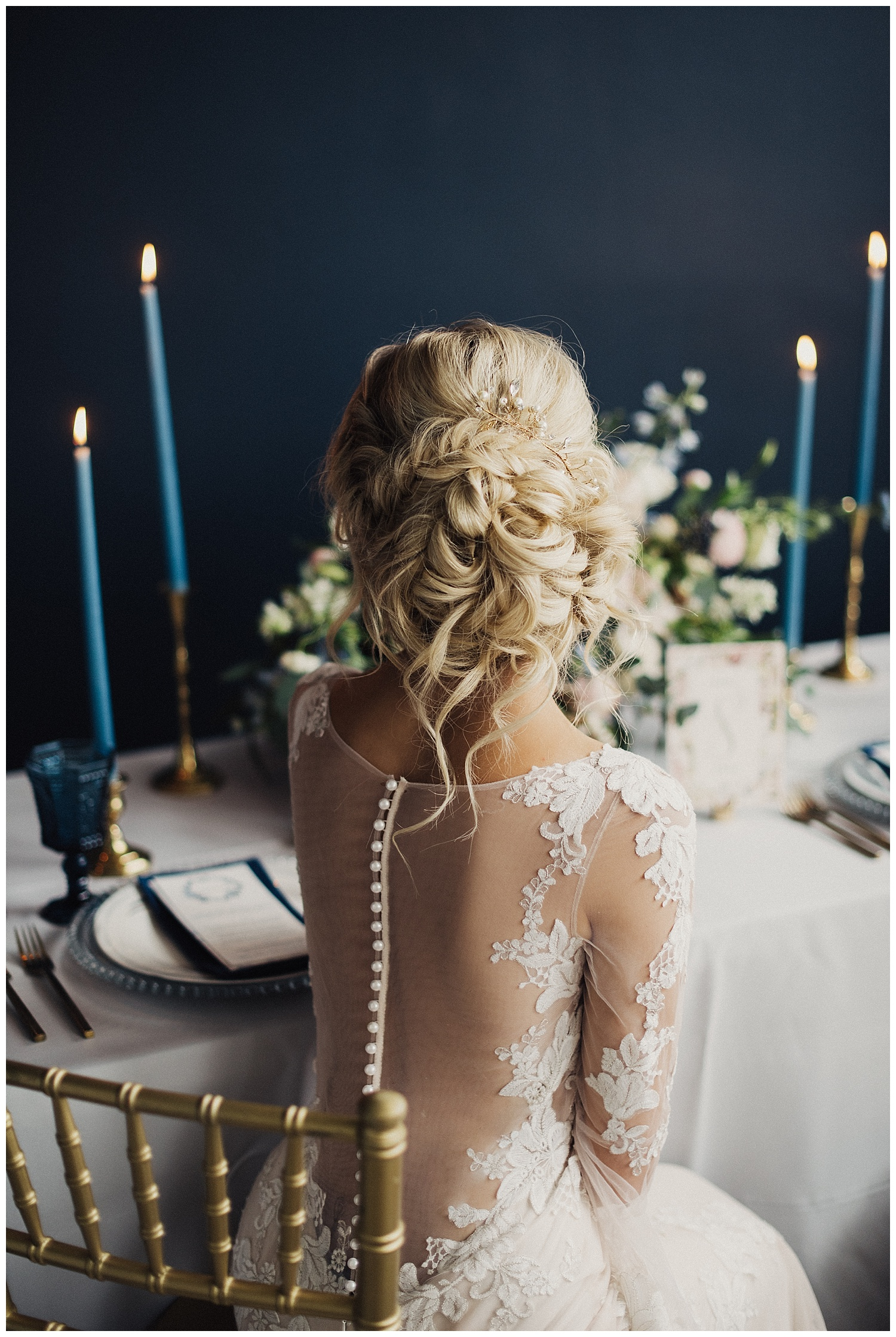 Backless Wedding Dress with Bridal Updo