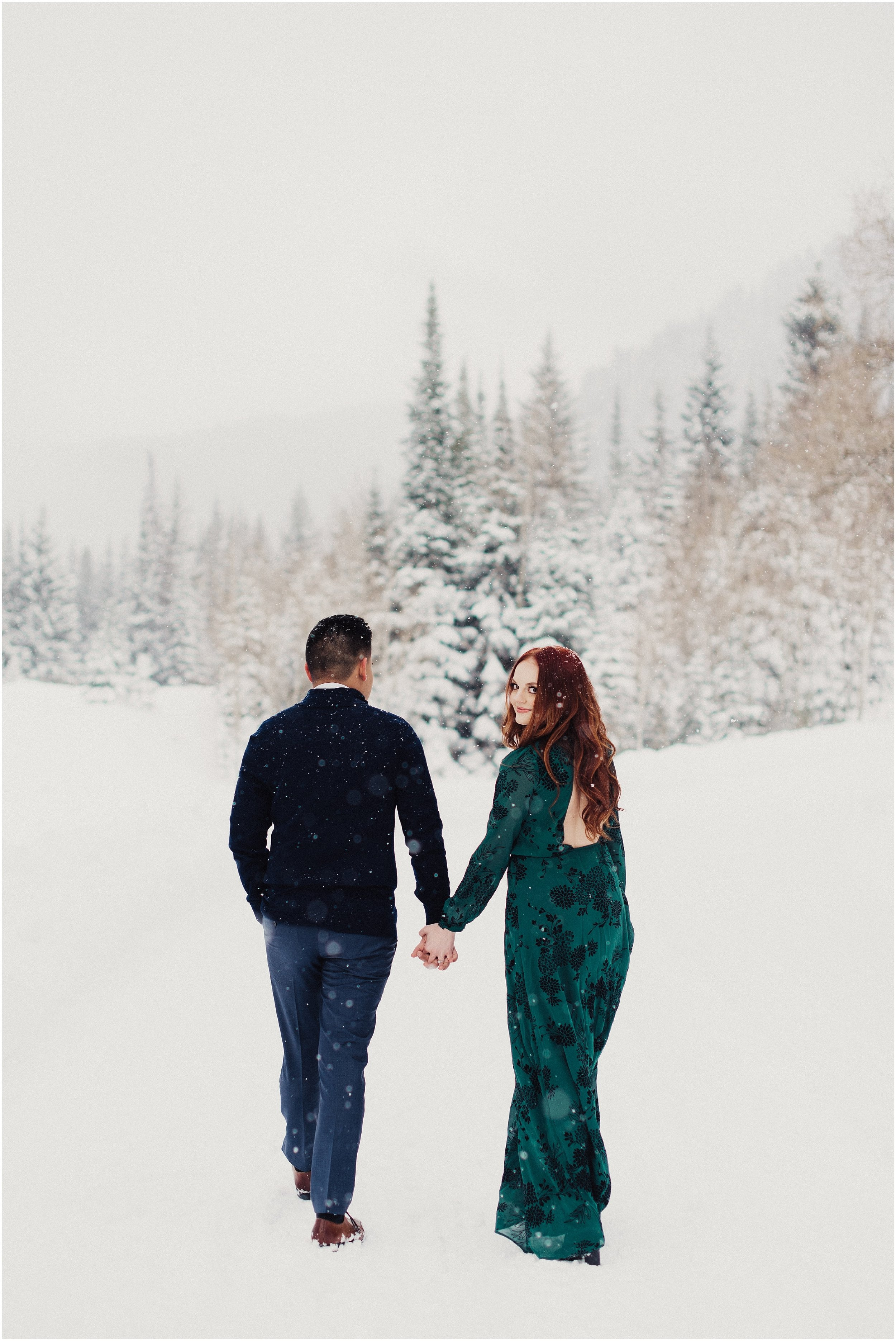Winter Engagements in Big Cottonwood Canyon