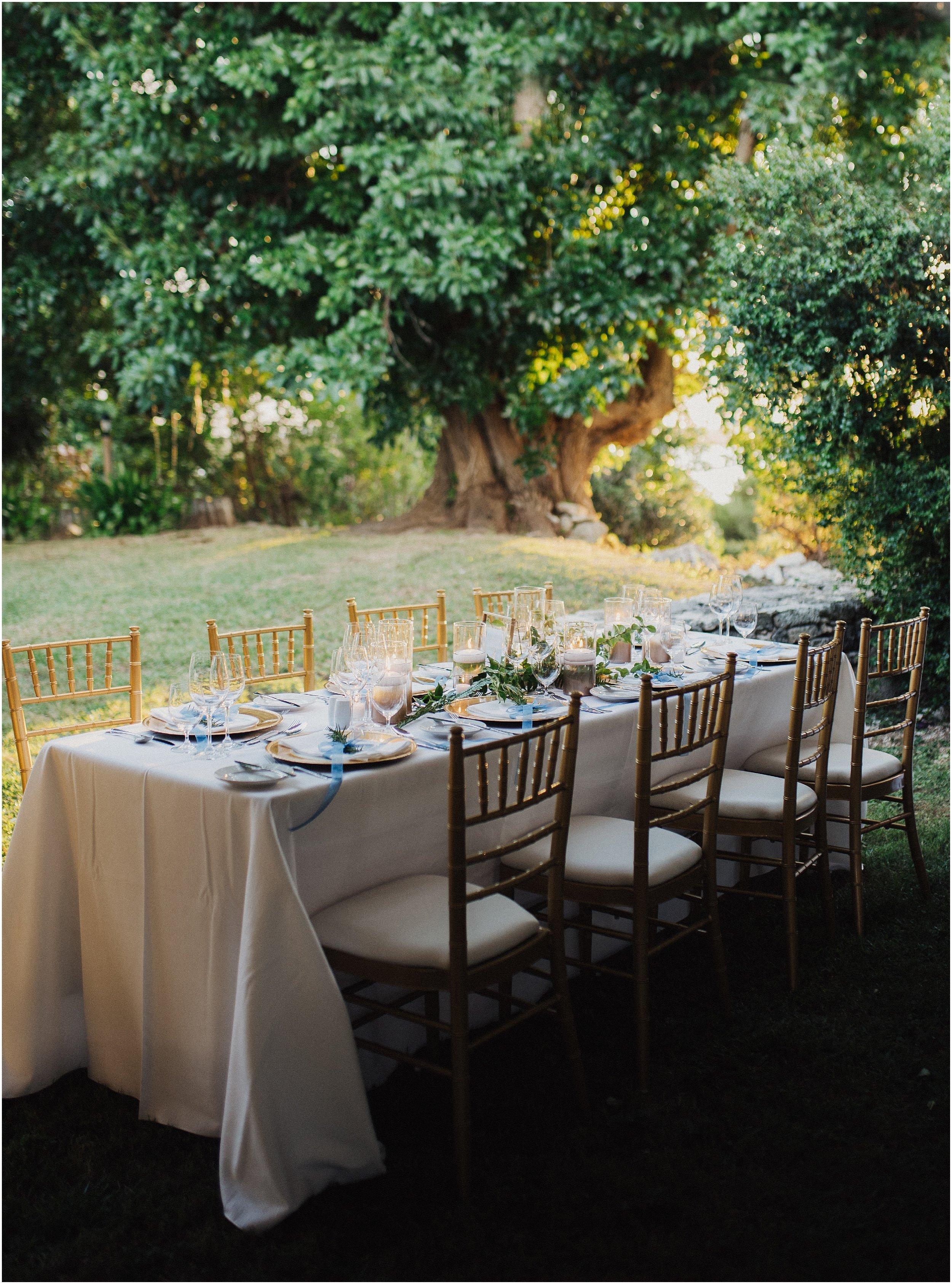 Blue wedding details tablescape
