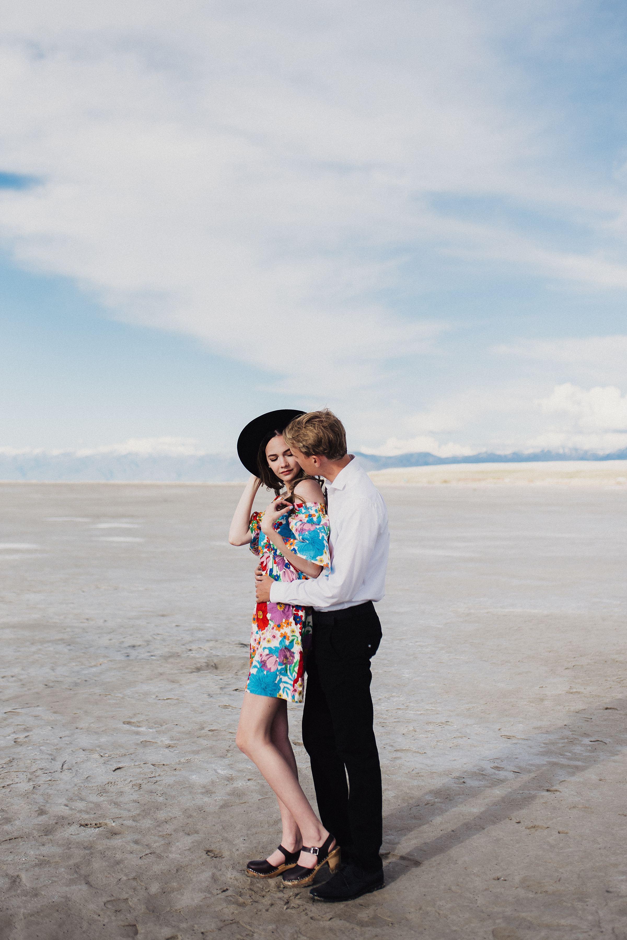 Retro Engagement Session Saltair Utah
