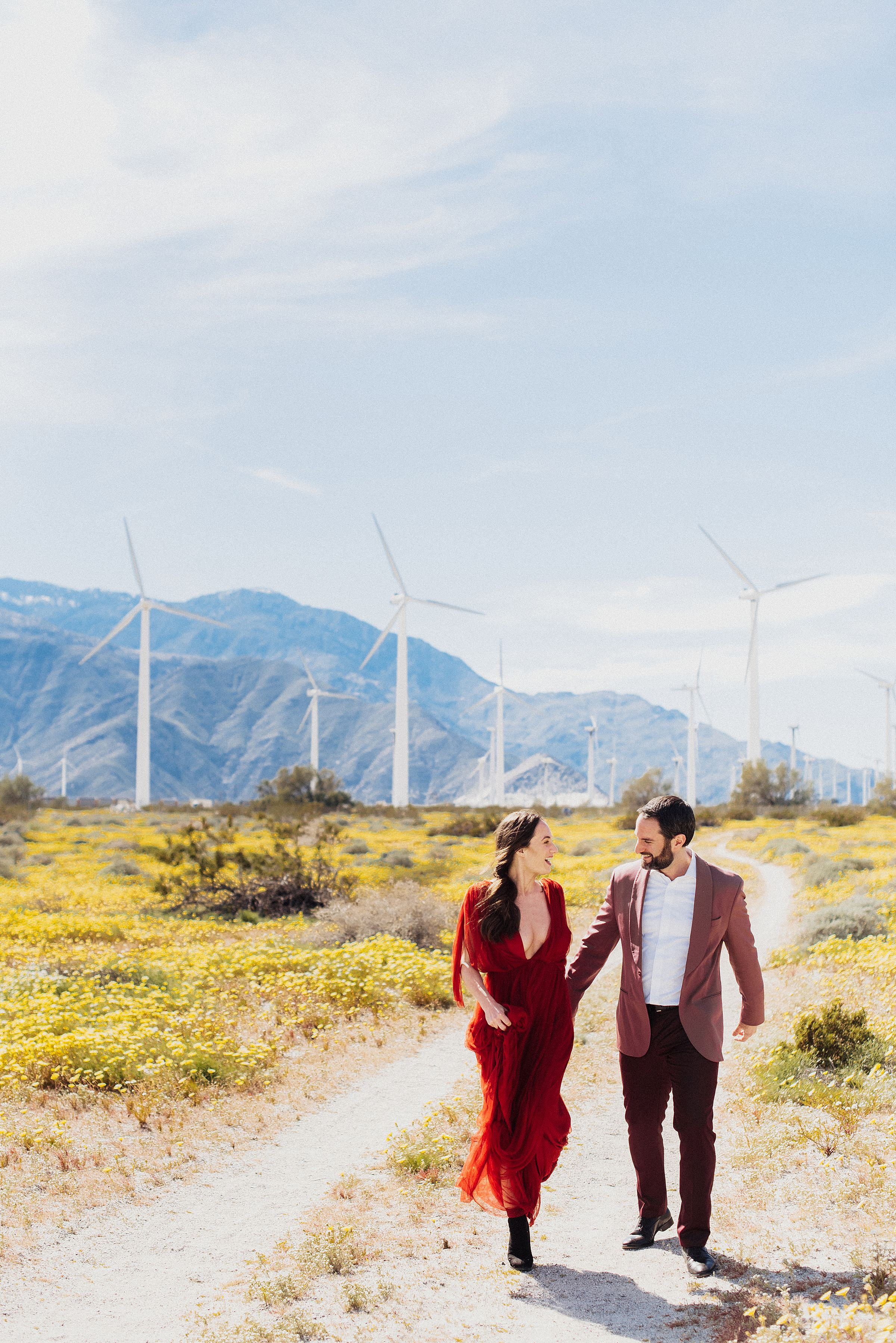 windmills in palm springs engagement session