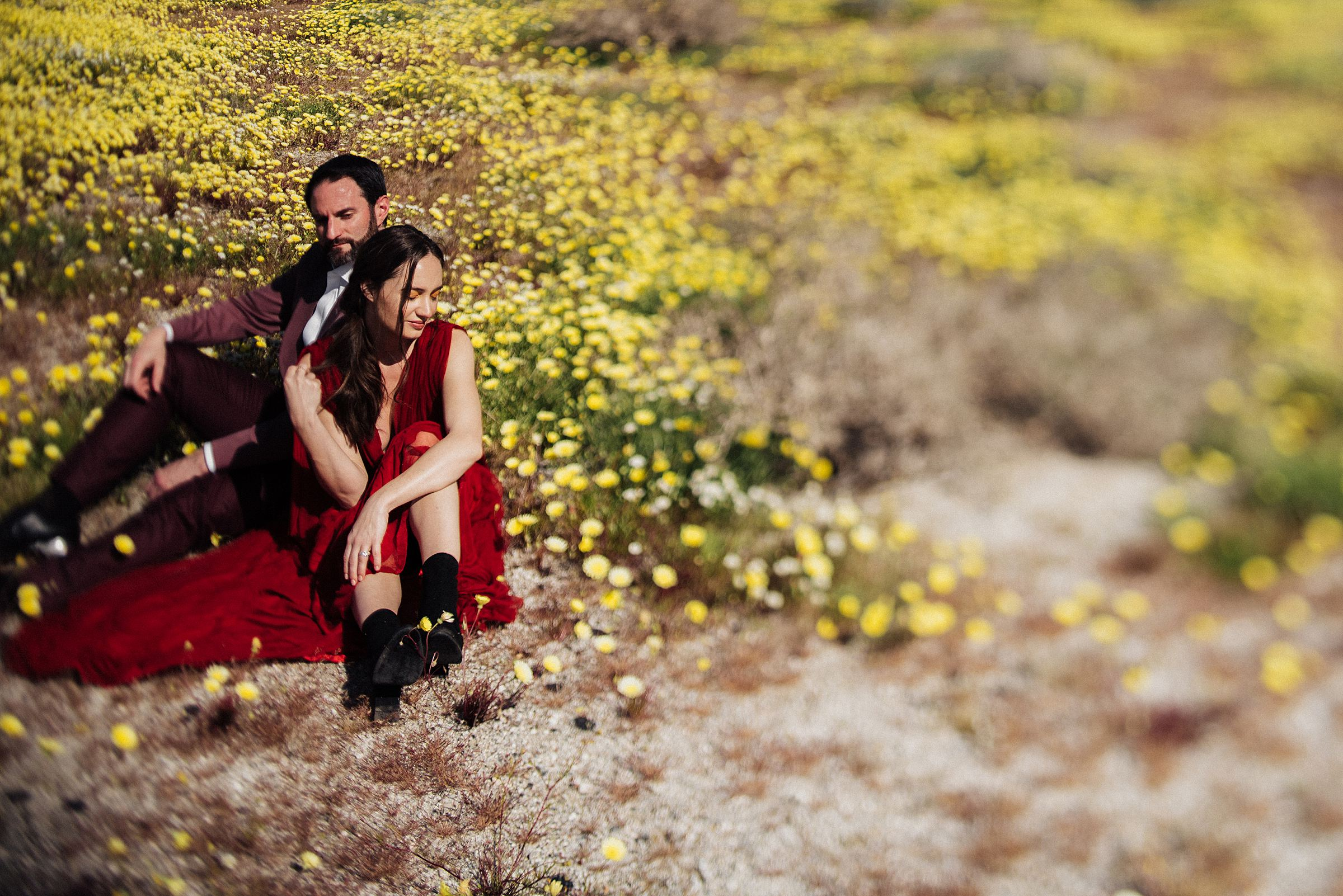 spring engagement session at palm springs windmills