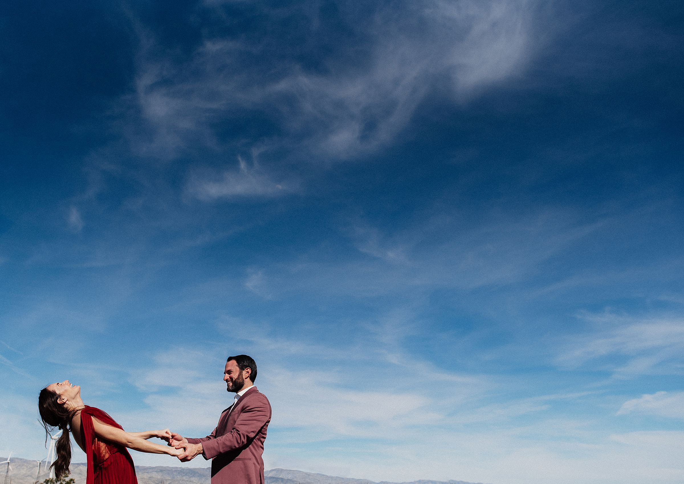 palm springs windmills engagement session
